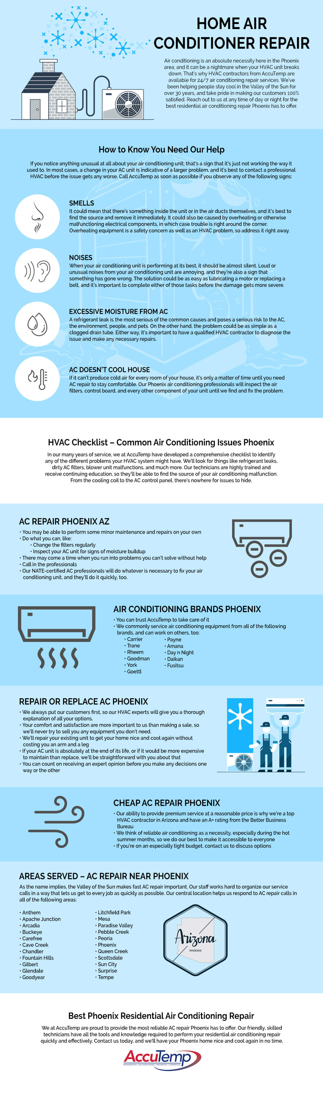 Home AC repair infographic by Accutemp Phoenix